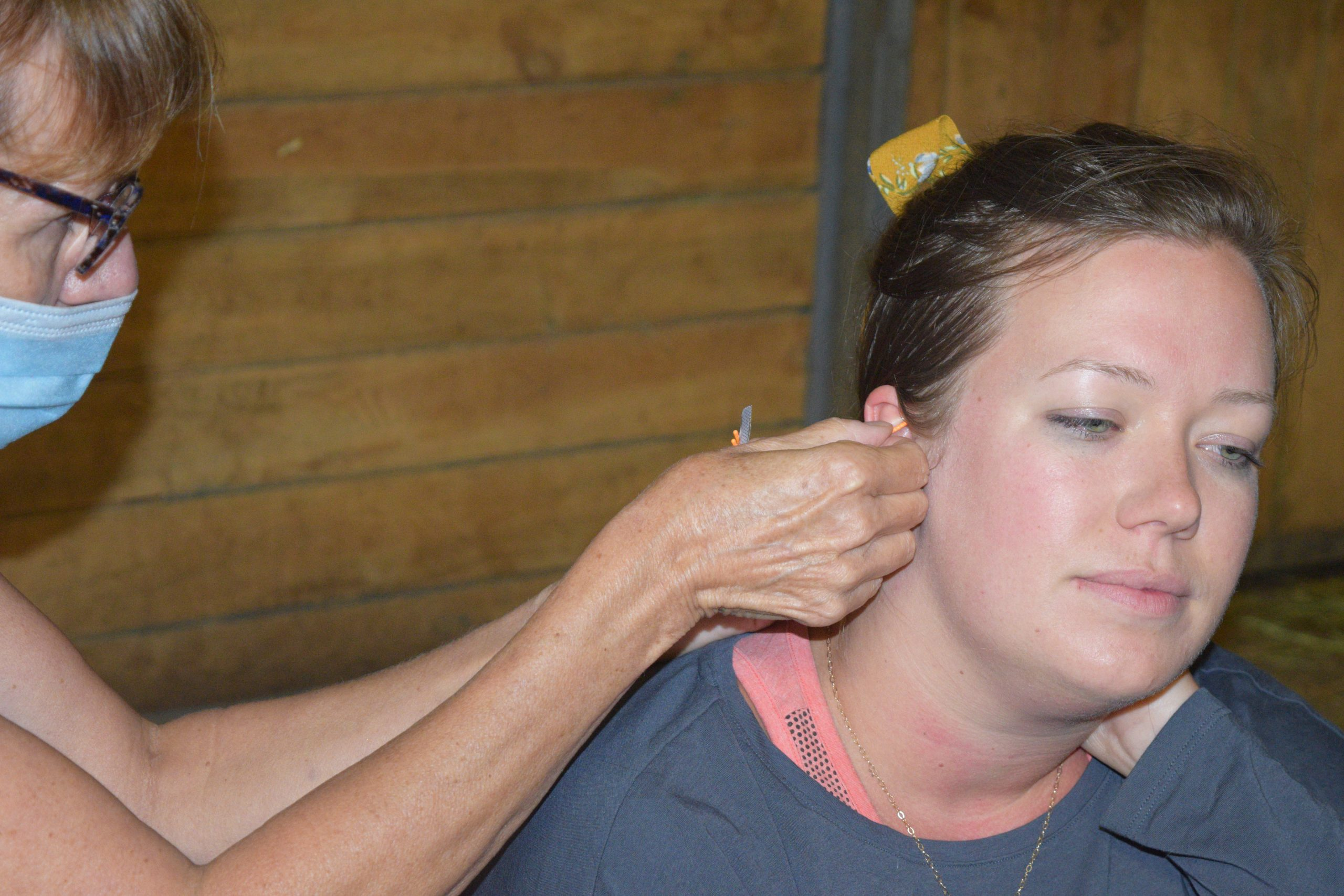 Ear acupuncture during Yin Yoga at Yoga on the Farm