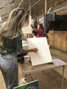 Paint and Party at sky view farm painting a horse